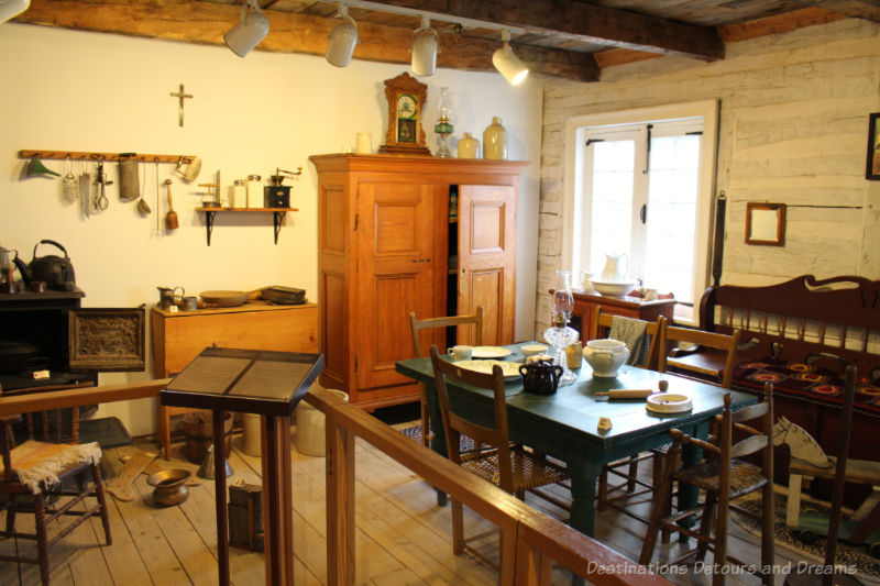 Recreated 1800s kitchen and home in a museum display