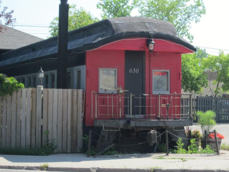 A train car now part of a restaurant