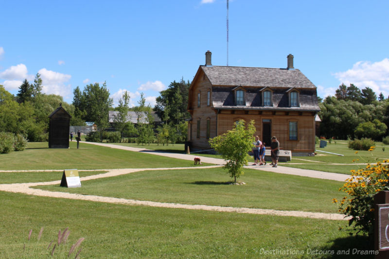A Manitoba park area with restored dwellings from the 1800s