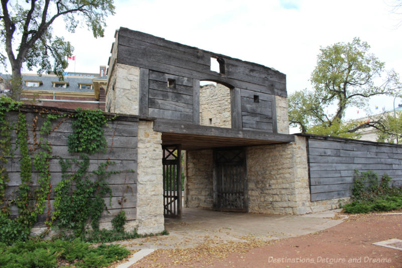 A stone and wood gate from a former fur trading post in Winnipeg, Manitoba