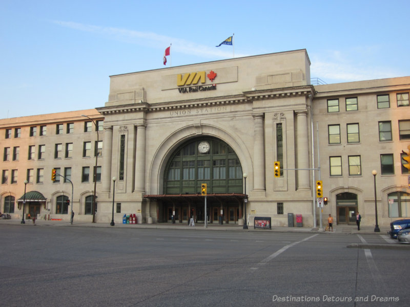 A Beaux-Arts style train station constructed from Tyndall limestone in Winnipeg, Manitoba