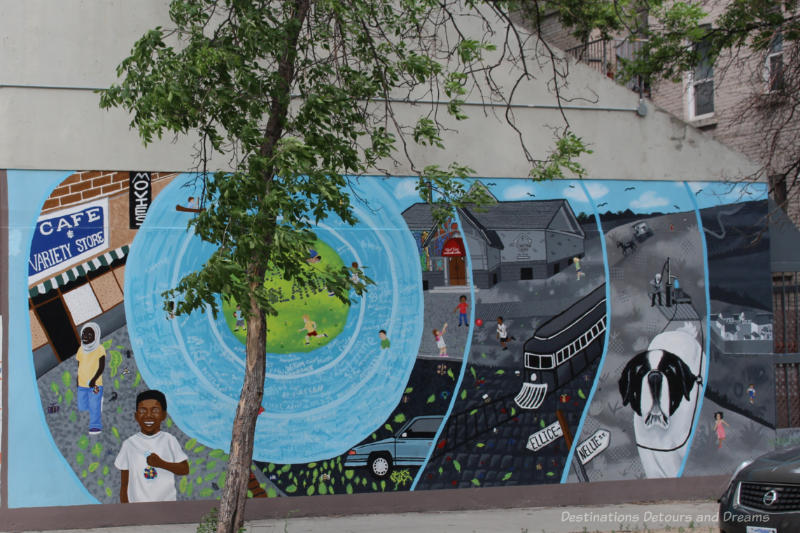 Mural with scenes across time spreading out like ripples from a blue circle on the left
