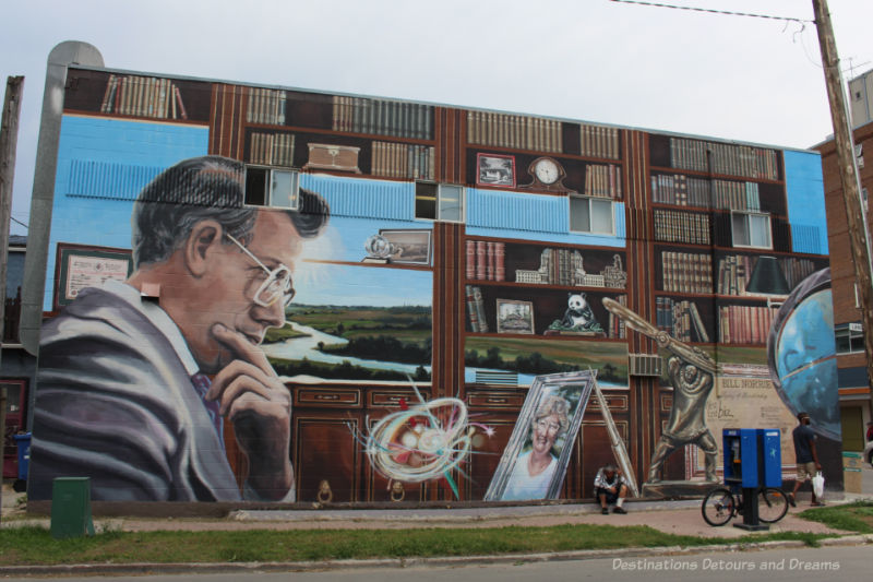 Mural showing Bill Norrie, former mayor of Winnipeg, and many items symbolizing his life