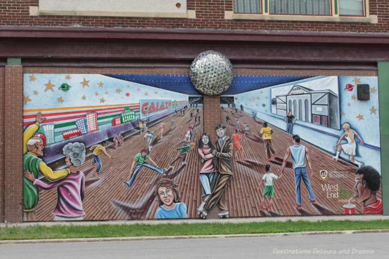 A mural showing people of all ages and time periods at a roller rink