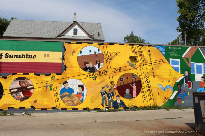 A mural with a yellow background showing a street layout with vignettes depicting historical events