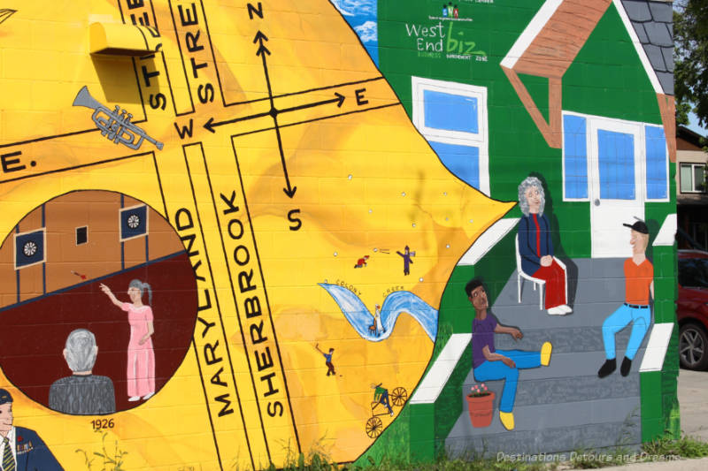Part of a mural showing people sitting on the front steps of a building with a speech bubble coming from one of the women showing a street map