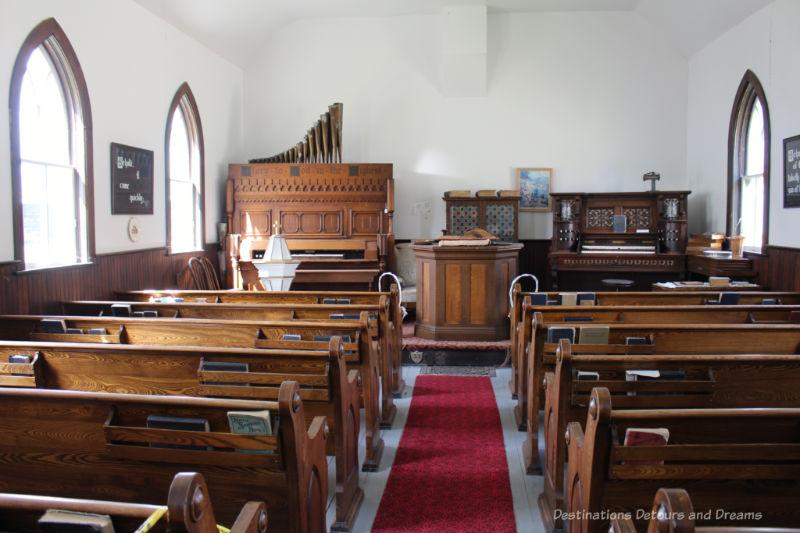 Inside of an old prairie church