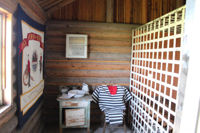Jail cell in a museum log building