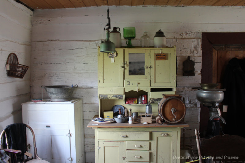 Cabinet for kitchen work area in an late 1800s log house