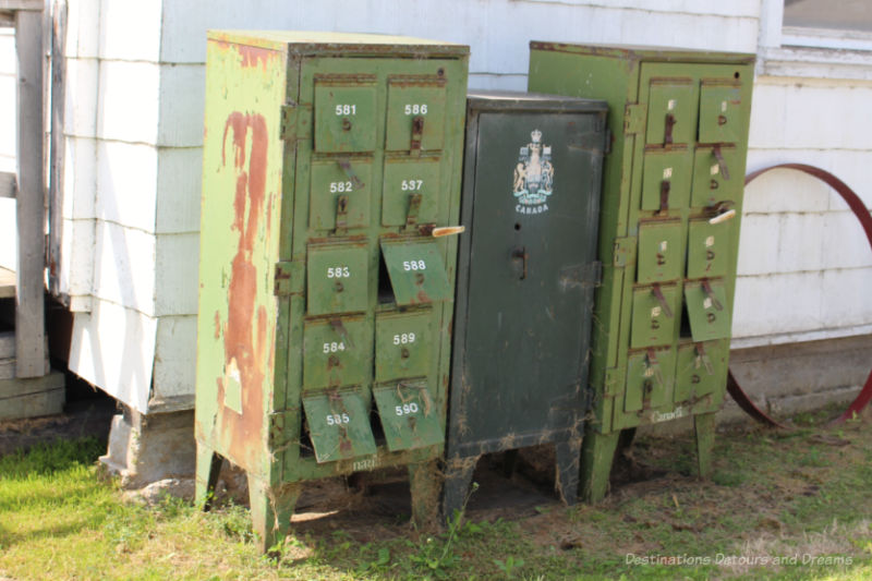 Rusted old green Canada Post mailboxes