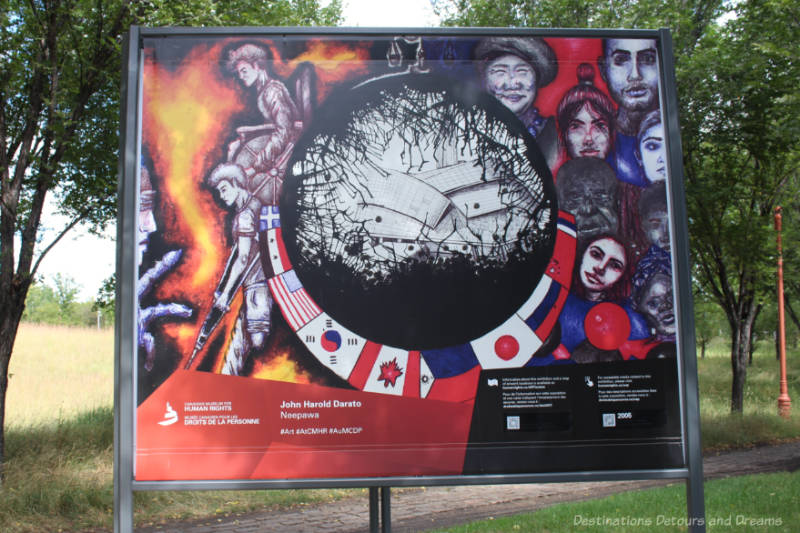 Artwork featuring a black globe containing a black and white drawing of the Canadian Museum for Human Rights surrounded by colourful country flages with diverse faces on the right and soldiers against a wall of fire on the left