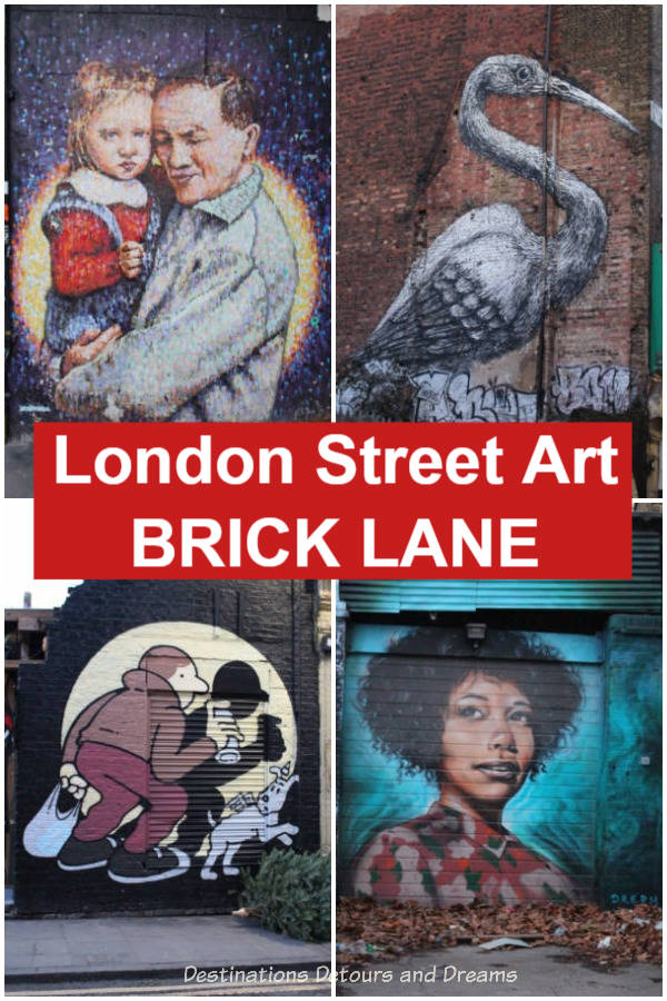 London Street Art in Brick Lane - the East End of London, England boasts an amazing and ever-changing collection of street art. The culturally diverse Brick Lane neighbourhood is a good place to go to check it out.