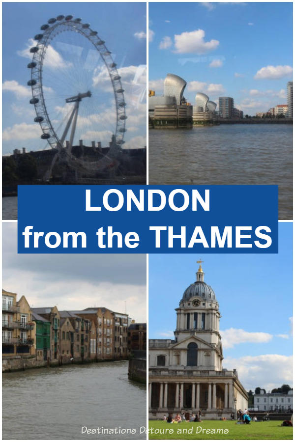 London from the Thames. From London Eye Pier to Greenwich and beyond, a view of landmarks in London, England from the Thames via the Thames Clipper River Bus. #London England #Landmarks