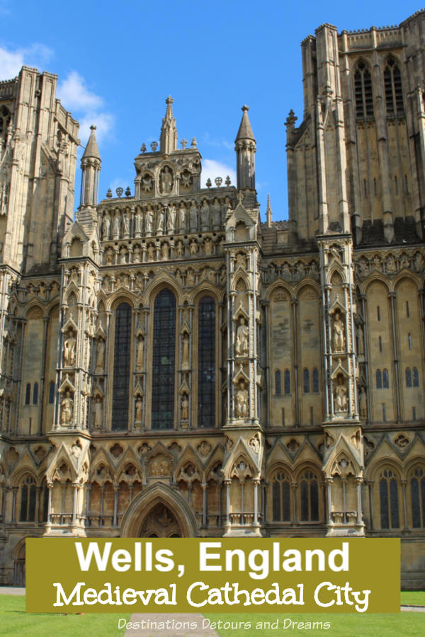 The Medieval Cathedral City of Wells, - England's Smallest City, easily explored on foot, is a medieval city with Roman heritage dominated by a magnificent Gothic cathedral #England #cathedral #Wells #amazingcity #history