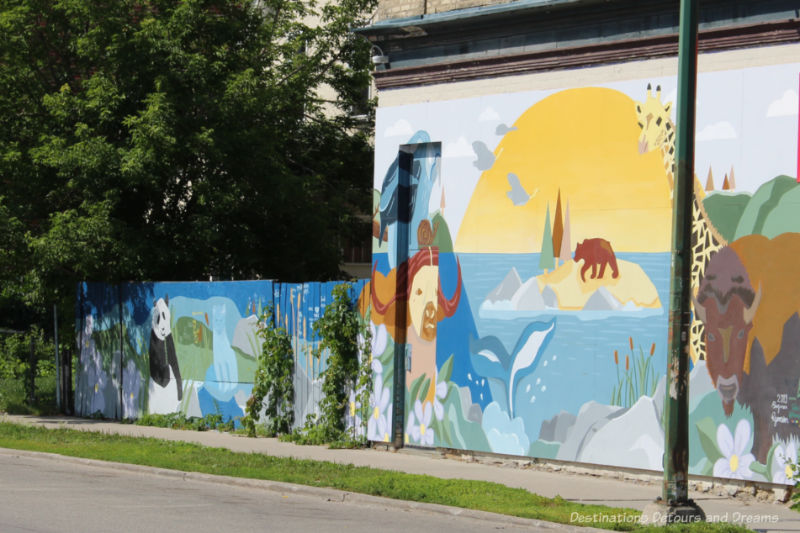 Earth-toned mural featuring associated wildlife and aspects of the Canadian landscape