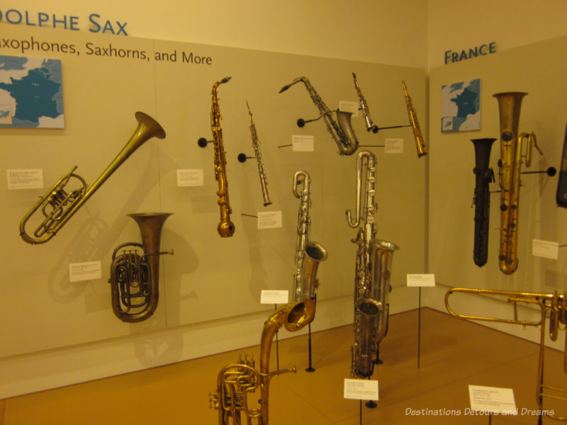 Collection of saxophones at Musical Instrument Museum in Phoenix