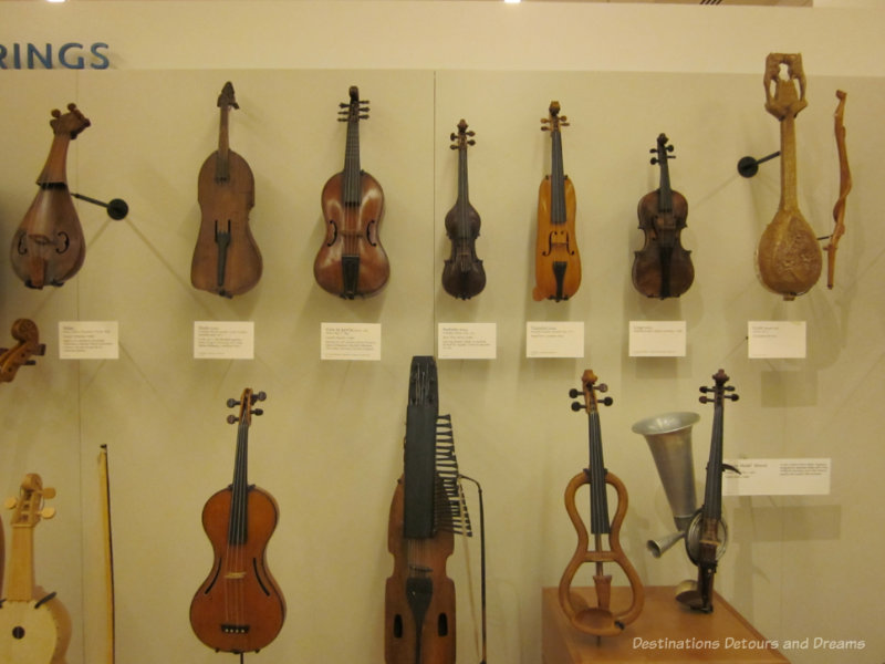 Collection of violins at Musical Instrument Museum in Phoenix, Arizona