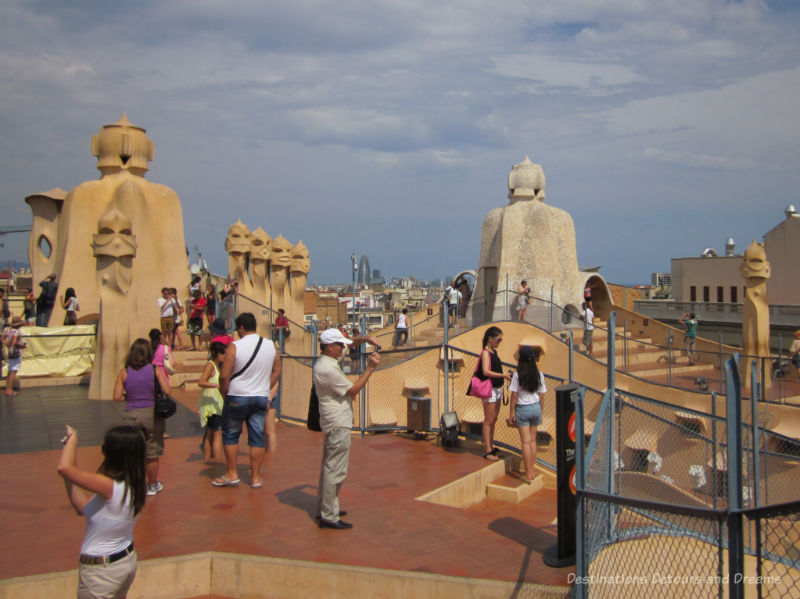 People on the rooftop of Casa Milà in Barcelona