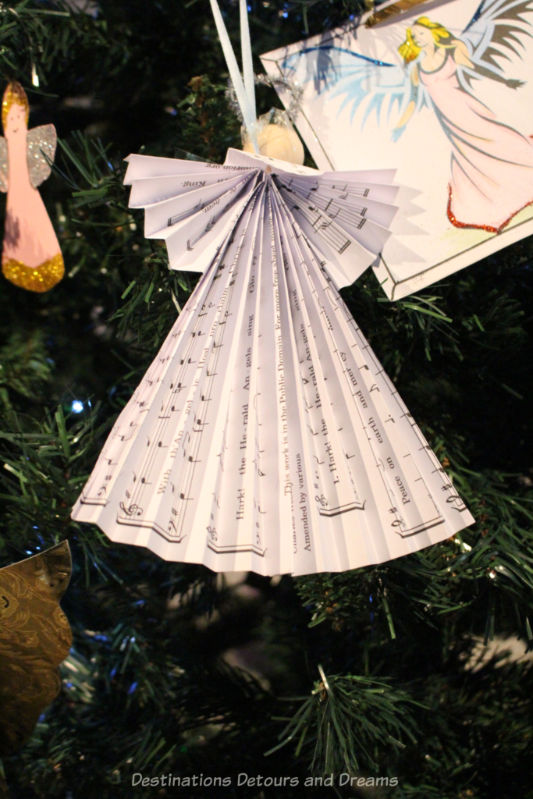 Angel made out of sheet music for a Christmas tree ornament