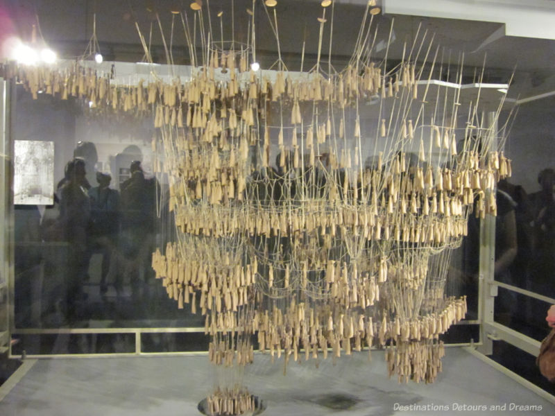 An inverted model used by Gaudí to test weight-bearing