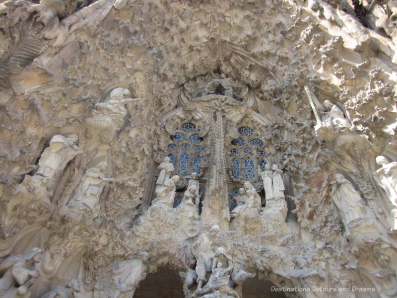 Ornate stone carvings of the nativity scene on the Nativity Facade of La Sagrada Família Nativity Facade