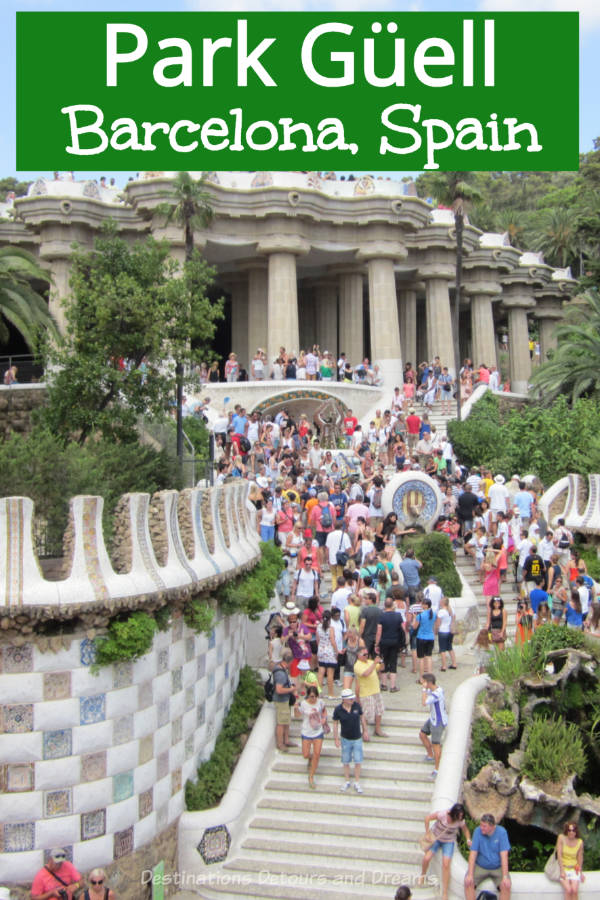Park Güell in Barcelona Spain is a park designed by Antoni Gaudí. Originally designed as an upscale residential development, it never took off as a housing space. It is now a park with green space and features many Gaudí architecture features