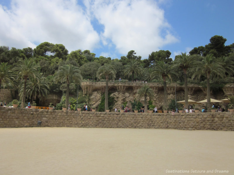 Trees beyond the terrace at Park Guell