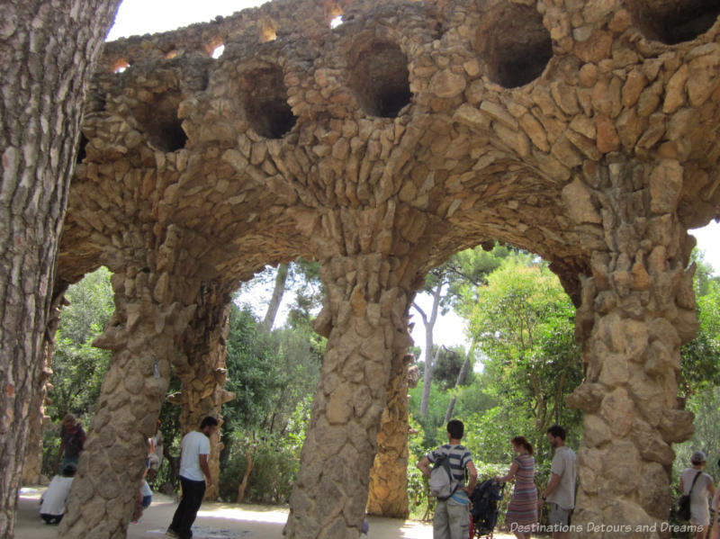 rough-hewn stone viaduct