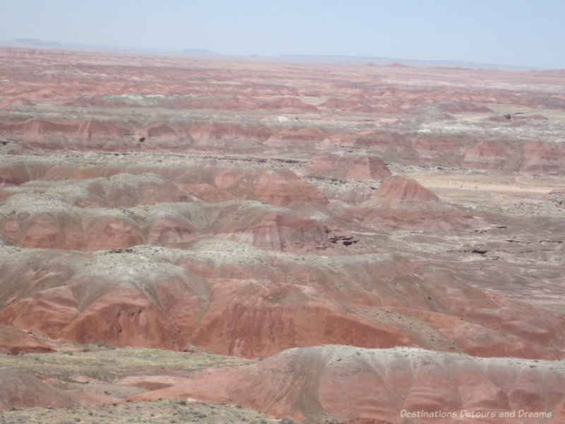 Reddish hues in the rock hills of the Painted Desert