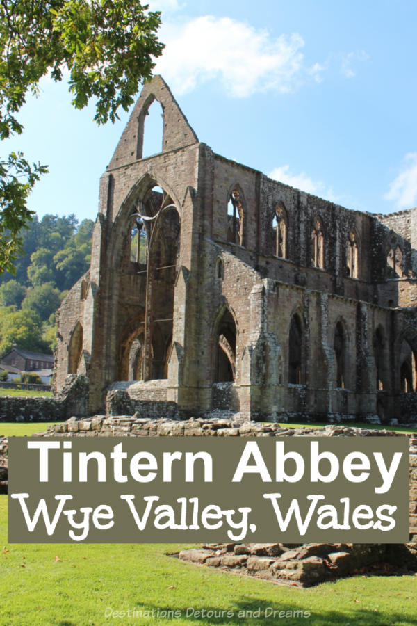 Tintern Abbey: impressive Cistercian monastery ruins and scenic countryside in the Wye Valley in south Wales