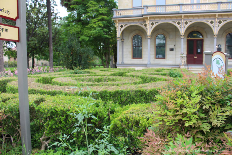 Hedge maze in the front yard of a heritage home
