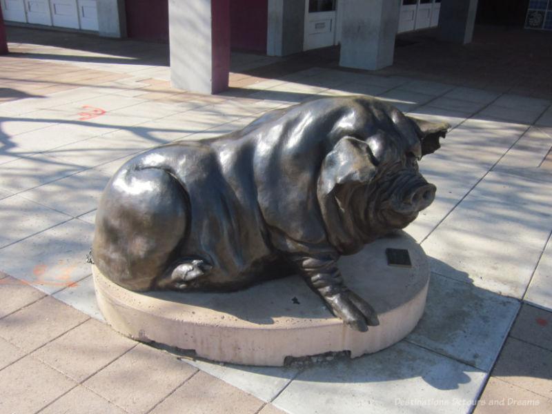 Sculpture of a big black hog