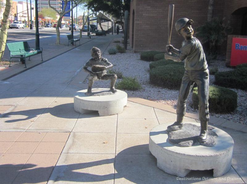 Baseball player sculptures in downtown Mesa, Arizona - one of many sculptures in downtown Mesa
