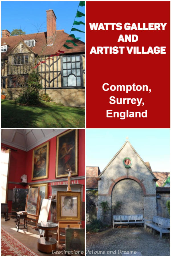 Watts Gallery and Artist Village in Compton, Guildford, Surrey, England:  Explore the art and life of Victorian artists G F Watts and Mary Watts on their former property. Their historic home, studios, and galleries of art are on display.