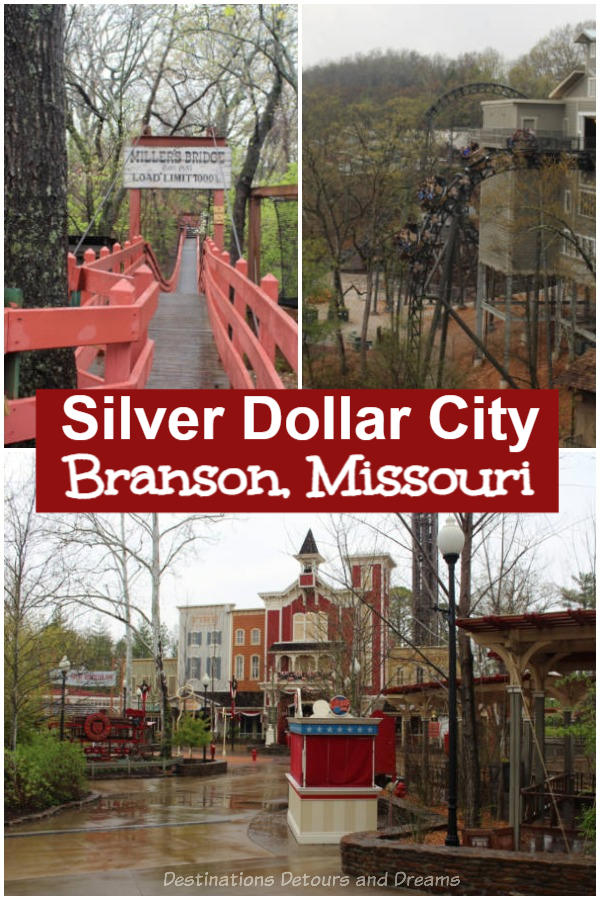 Silver Dollar City: Branson's 1880s Theme Park. Silver Dollar City in Branson, Missouri is an 1880s style them park with historical buildings in an Ozark mountain village setting, amusement park rides, and craftsmen demonstrating heritage crafts. #Branson #Missouri #themepark #heritage #craftsmen