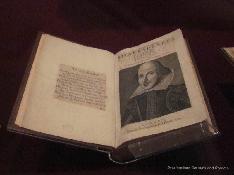 Shakespeare Folio open to page with his photo on the right and a message to the reader on the left