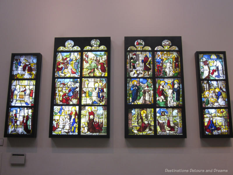 A series of stained glass windows originally from a Cistercian abbey