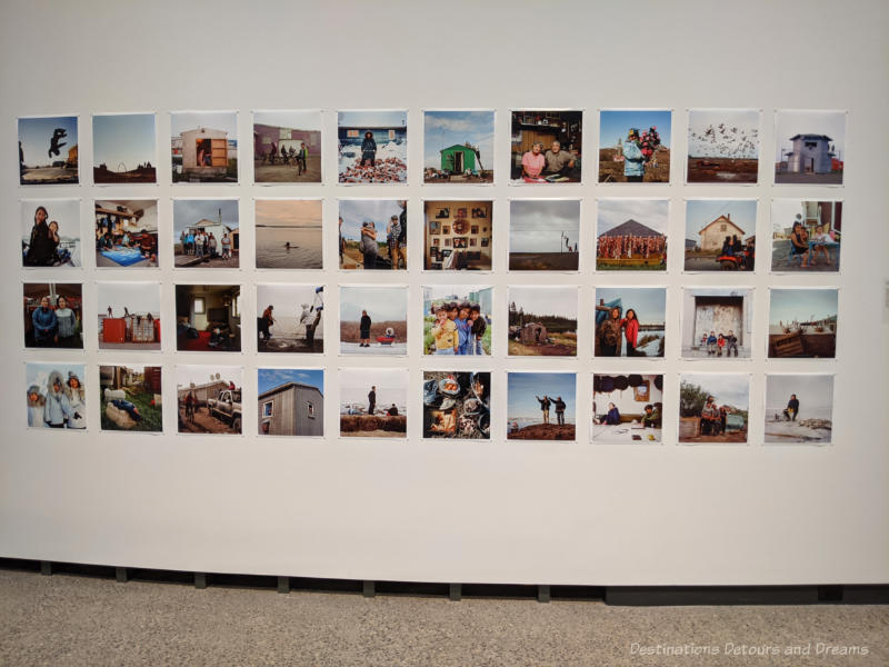 Display of four rows of digital photos by Brian Adams of Alaska with ten photos in each row showing life in the north