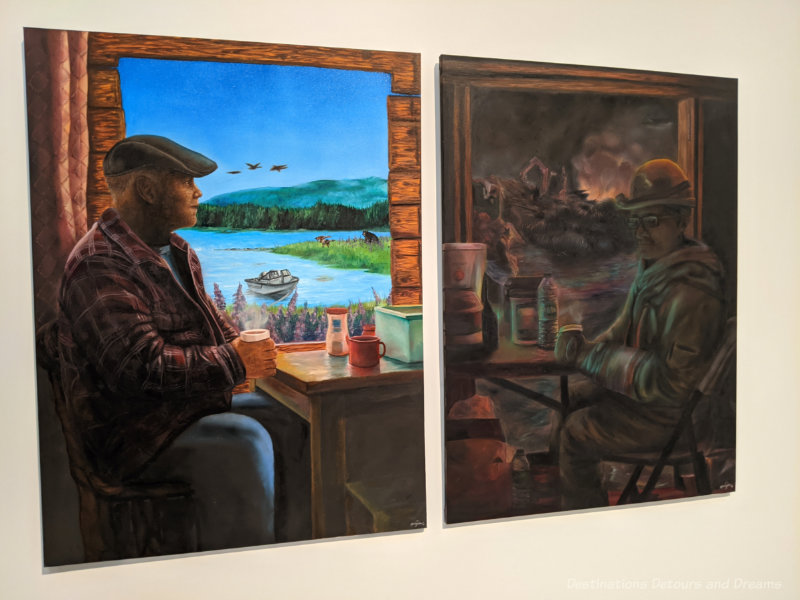 Two paintings side by each, one showing a man in a warming shack during the day with the lake and mountain visible out the window, the other darker, more blurred with fire and cranes out the window