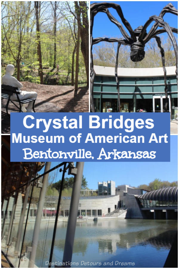 Crystal Bridges Museum of American Art in Bentonville, Arkansas is a stunning building in a beautiful natural setting and is full of interesting American art. A definite must visit place in Arkansas where art and nature meet in the Ozarks
