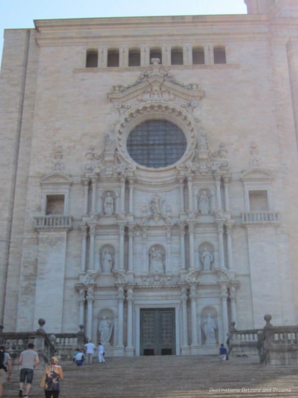 Medieval cathedral front in Girona, Spain