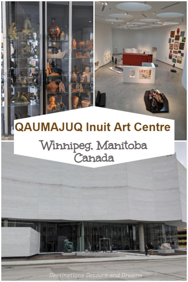Qaumajuq Inuit Art Centre in Winnipeg, Manitoba, Canada. The large full-of-light gallery whose name means it is bright, it is lit is home to the largest public collection of Inuit art in the world. It showcases Arctic art and Inuit art from across Canada and the world. #Winnipeg #Inuitart