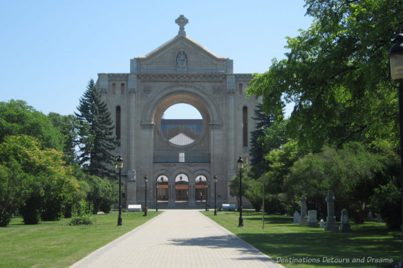 Stone facade of Saint Boniface Cathedral, all that remains of a 1908 church destroyed by fire in 1968