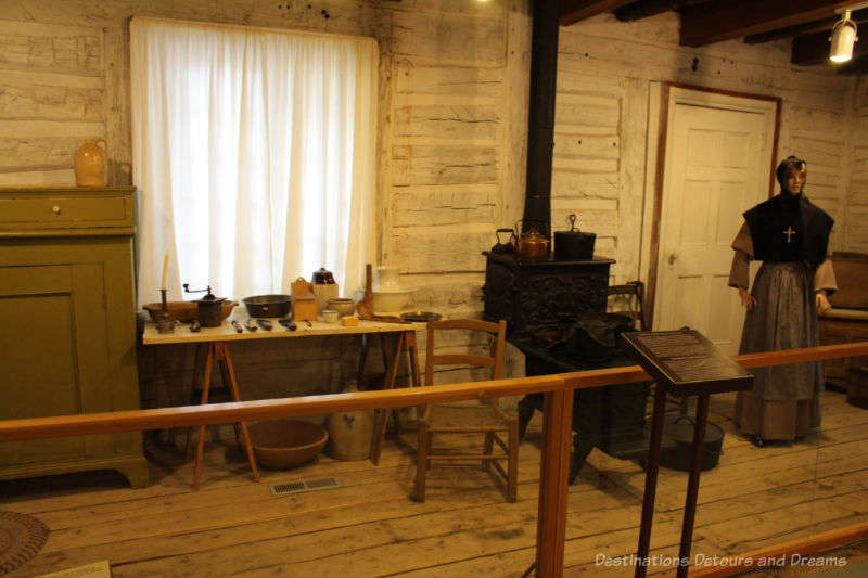 Recreation of a convent common room in a wooden building in Saint Boniface Museum