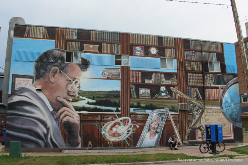 Mural showing a portrait of and collage of items related to one-time Winnipeg mayor Bill Norrie