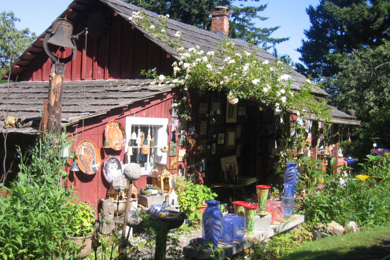 Pottery outside a cottage like studio. Photo courtesy of San Juan Islands Visitors Bureau.