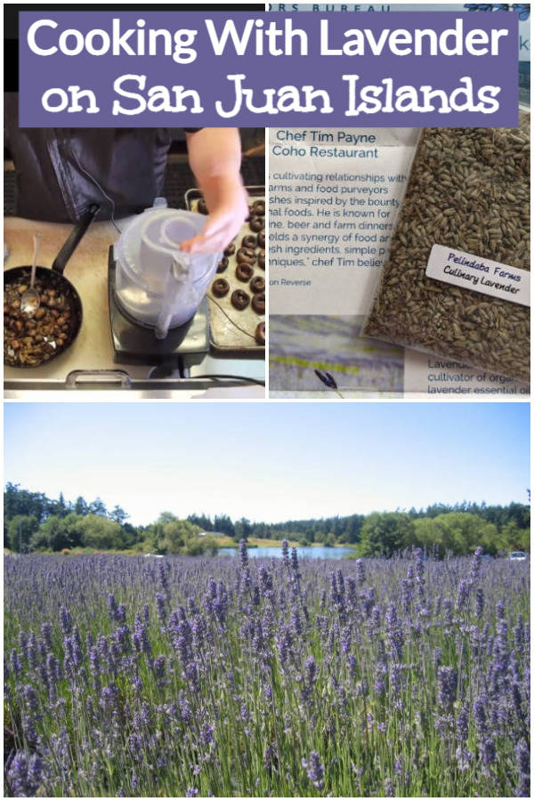 Cooking With Lavender on San Juan Islands: Virtual cook-along with Chef Tim Payne of Coho Restaurants using lavender from Pelindaba Lavender Farm, one of the many culinary attractions of San Juan Islands in Washington State, U.S.A. Lavender field photo courtesy of San Juan Islands Visitor Bureau.