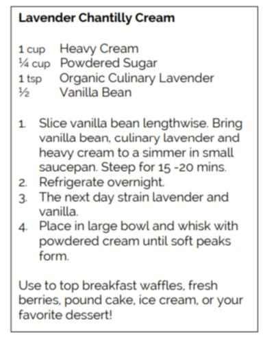 Recipe for Lavender Chantilly Cream