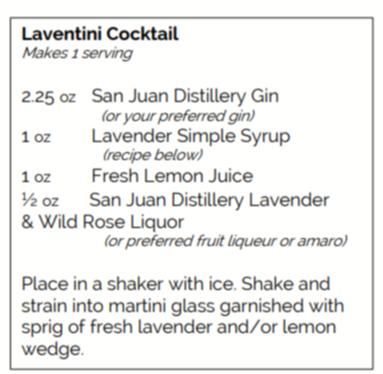 Recipe for Laventini Cocktail