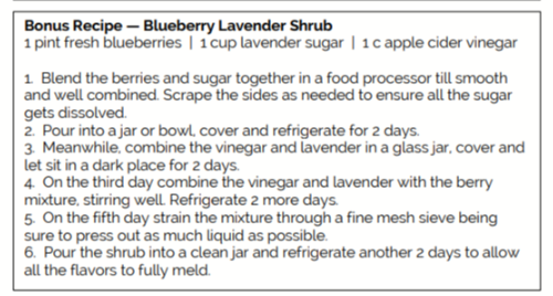 Recipe for Blueberry Lavender Shrub
